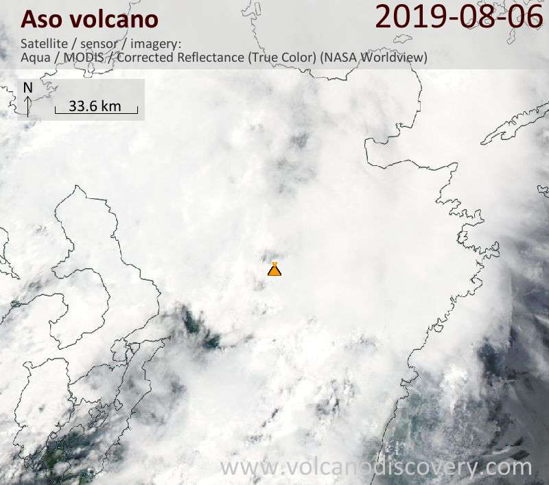 Satellite image of Aso volcano on  6 Aug 2019