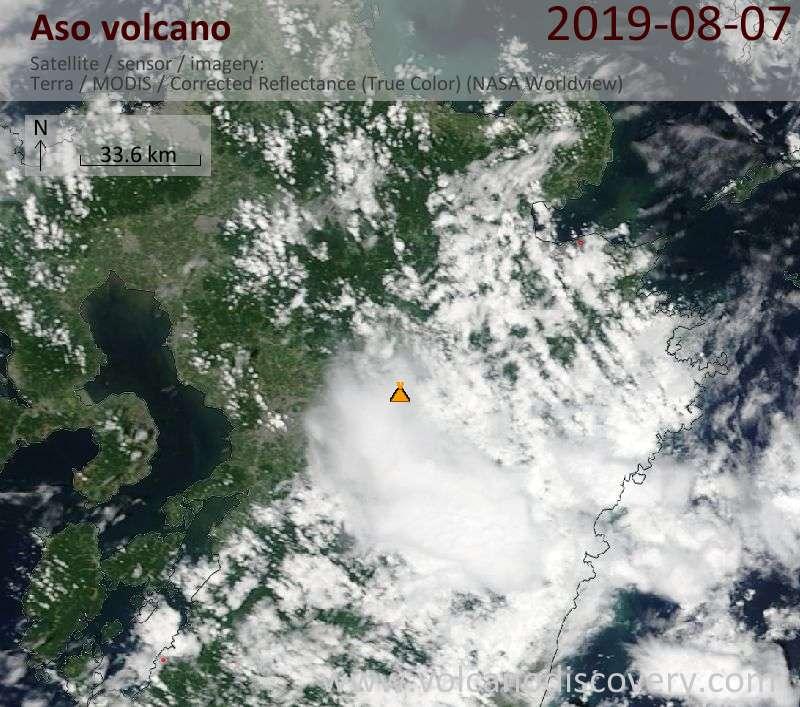 Satellite image of Aso volcano on  8 Aug 2019