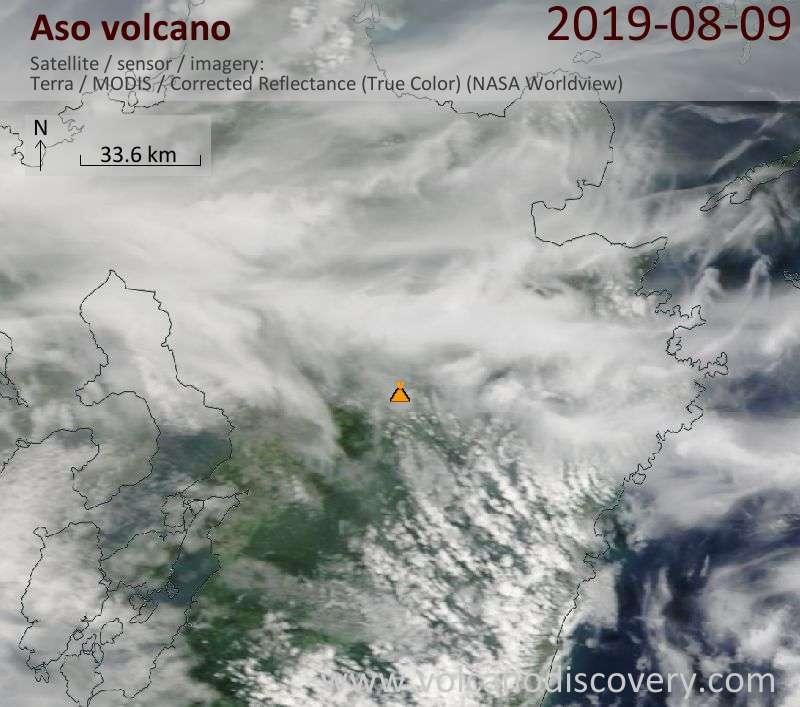 Satellite image of Aso volcano on  9 Aug 2019
