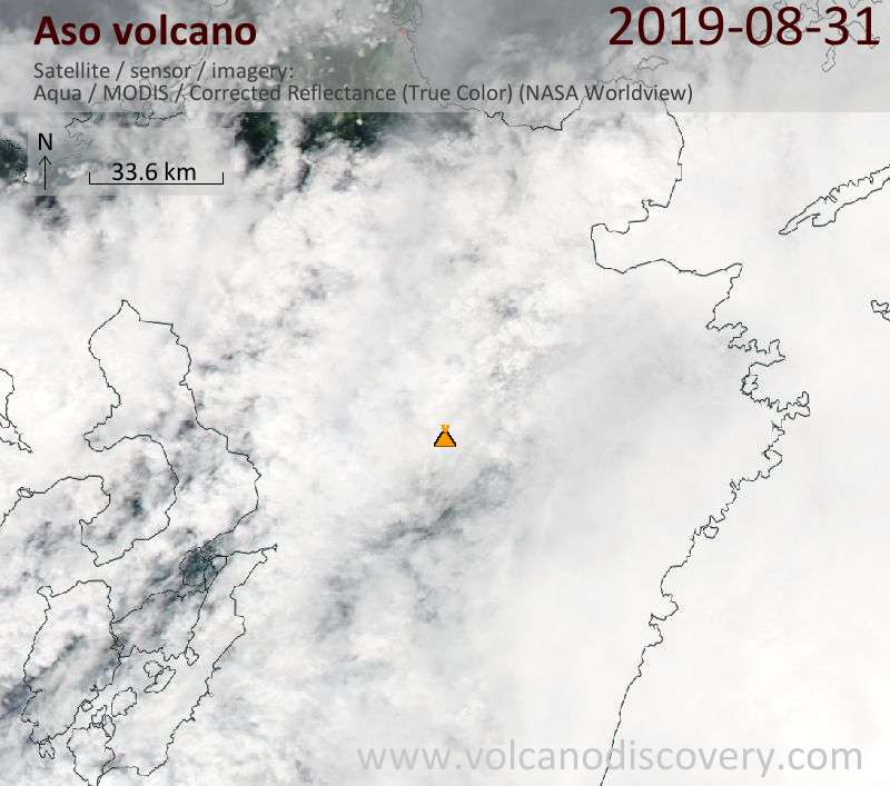 Satellite image of Aso volcano on  1 Sep 2019