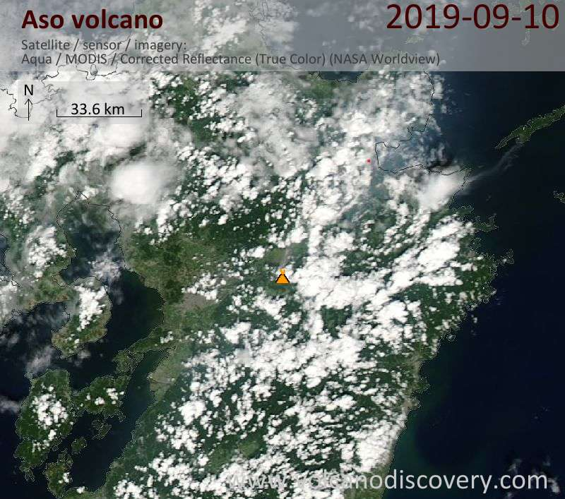 Satellite image of Aso volcano on 10 Sep 2019