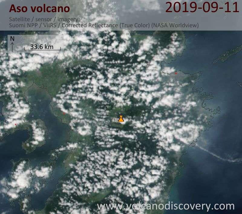 Satellite image of Aso volcano on 12 Sep 2019