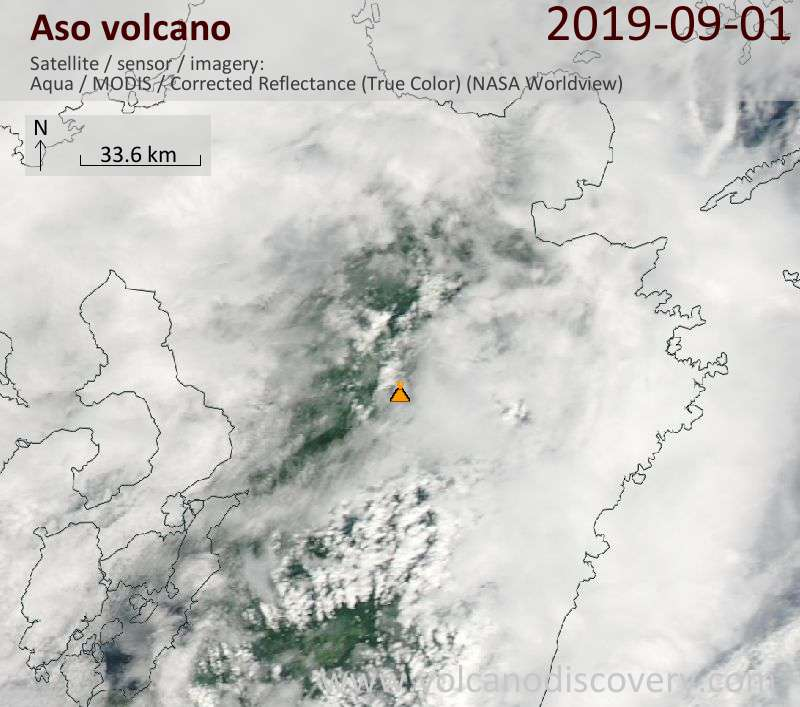 Satellitenbild des Aso Vulkans am  2 Sep 2019