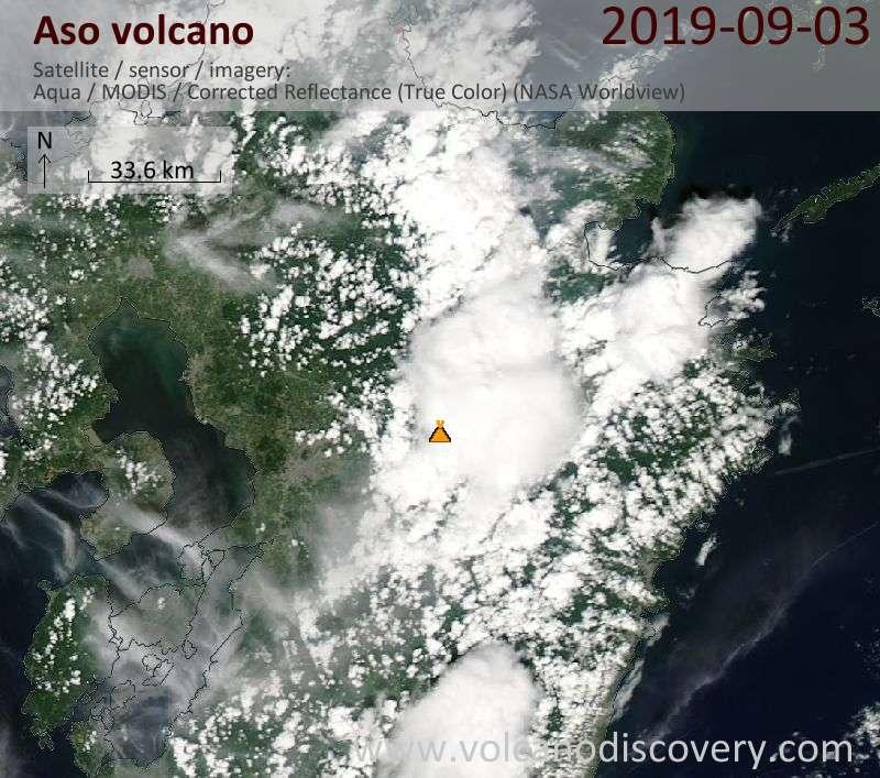 Satellitenbild des Aso Vulkans am  3 Sep 2019