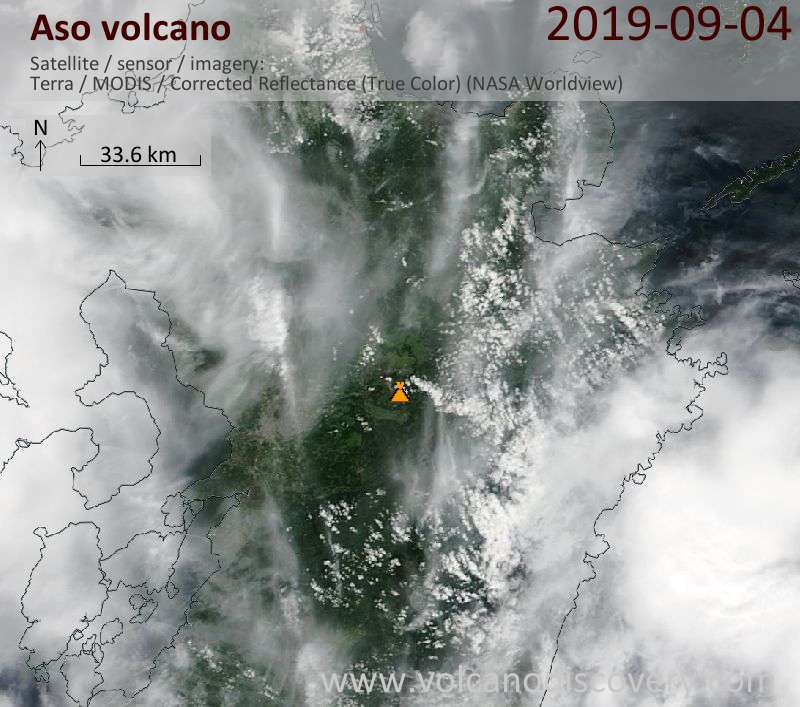 Satellite image of Aso volcano on  4 Sep 2019