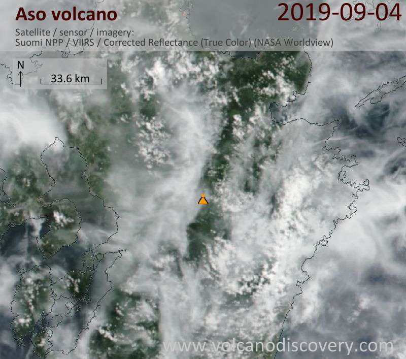 Satellite image of Aso volcano on  5 Sep 2019