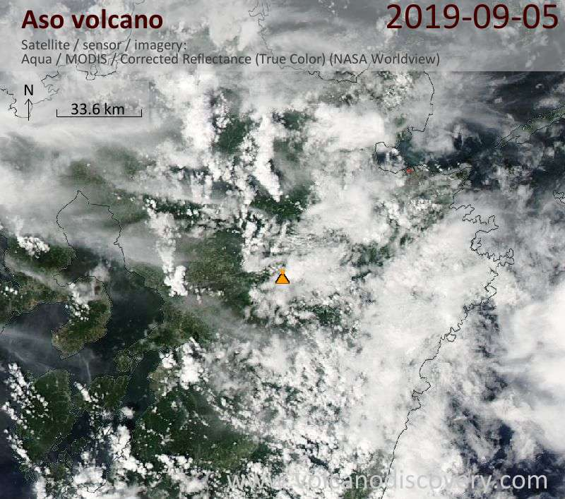 Спутниковое изображение вулкана Aso  6 Sep 2019