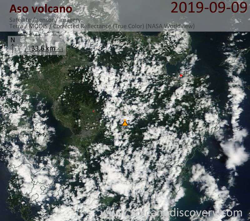 Satellite image of Aso volcano on  9 Sep 2019