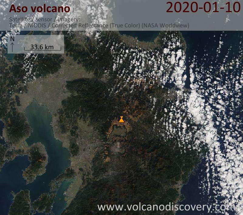 Satellitenbild des Aso Vulkans am 11 Jan 2020