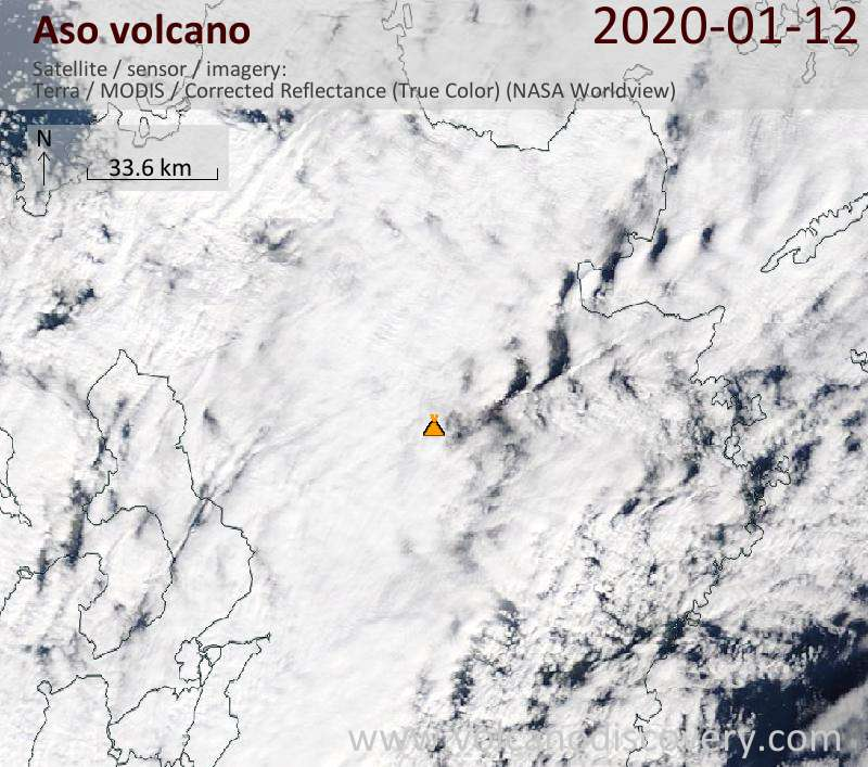Satellitenbild des Aso Vulkans am 12 Jan 2020