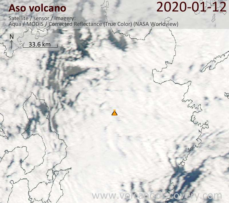Satellite image of Aso volcano on 13 Jan 2020