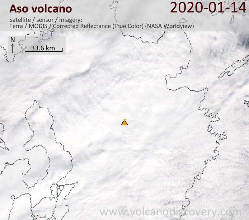 Satellitenbild des Aso Vulkans am 14 Jan 2020