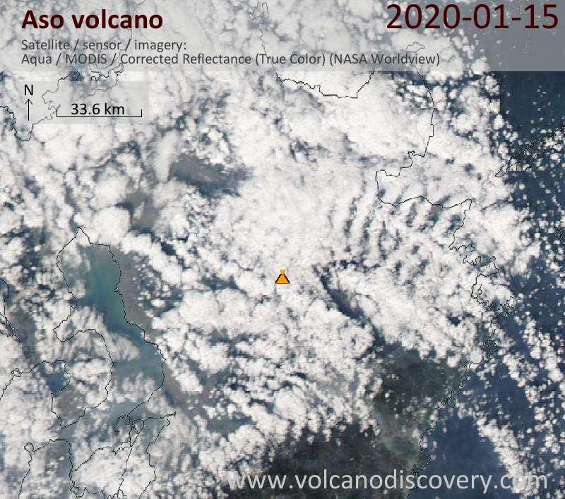 Satellitenbild des Aso Vulkans am 16 Jan 2020