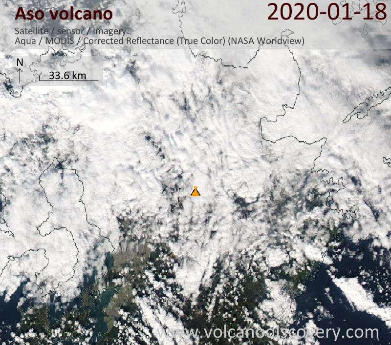 Satellitenbild des Aso Vulkans am 18 Jan 2020