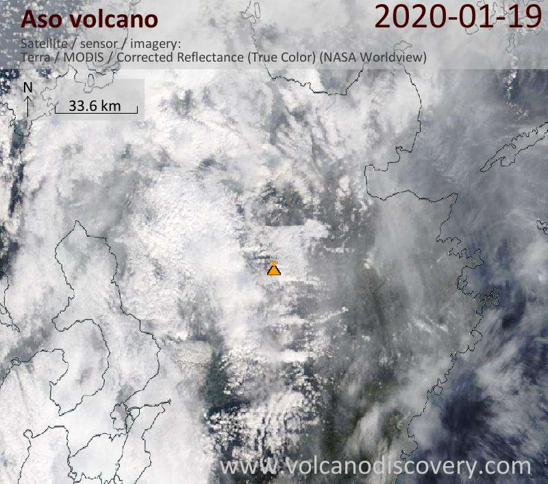 Satellite image of Aso volcano on 19 Jan 2020