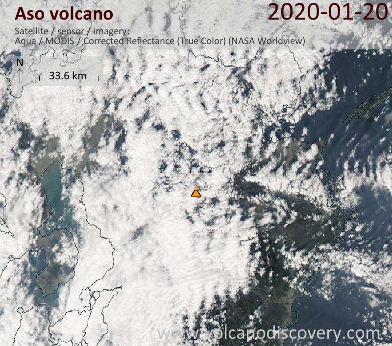 Satellitenbild des Aso Vulkans am 21 Jan 2020