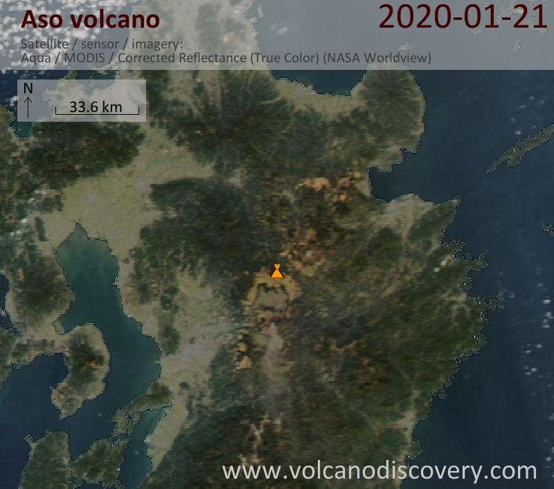 Satellite image of Aso volcano on 22 Jan 2020