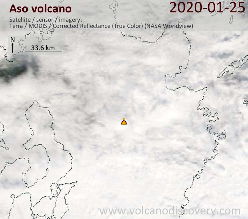 Satellitenbild des Aso Vulkans am 25 Jan 2020