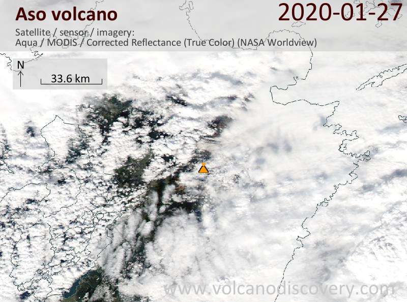 Satellite image of Aso volcano on 27 Jan 2020