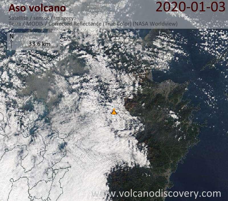 Satellitenbild des Aso Vulkans am  3 Jan 2020