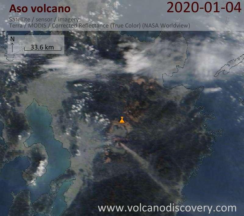 Satellite image of Aso volcano on  4 Jan 2020