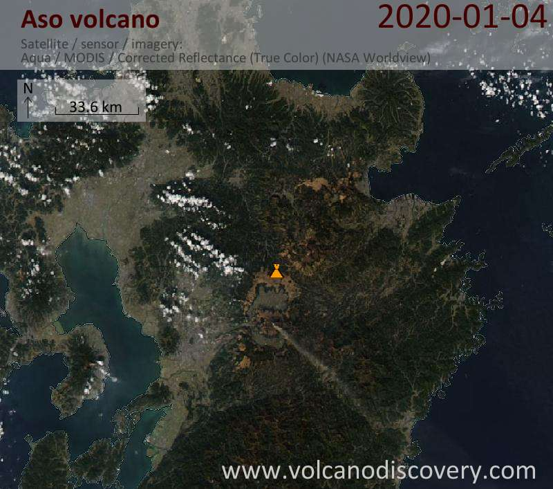 Satellite image of Aso volcano on  5 Jan 2020