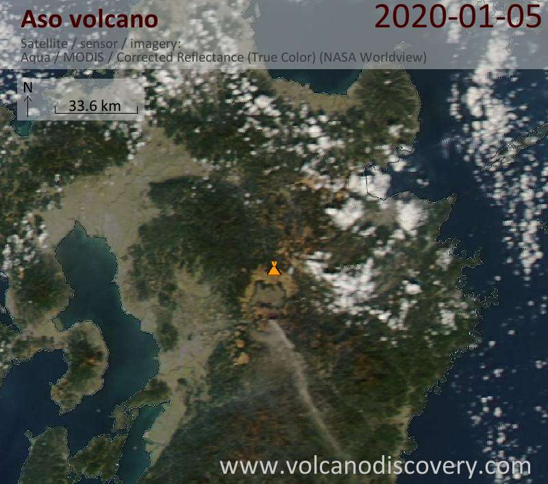Satellitenbild des Aso Vulkans am  6 Jan 2020