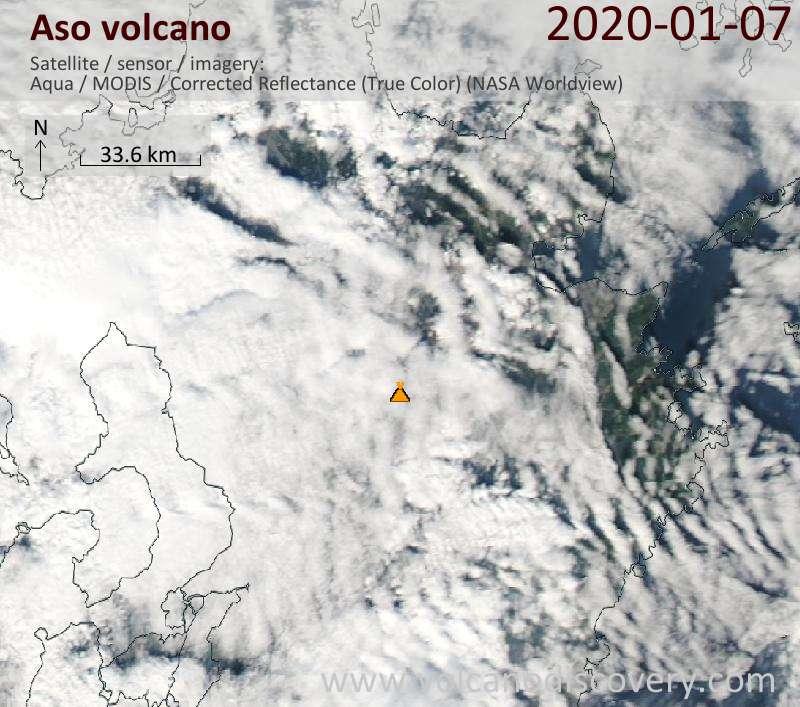 Satellite image of Aso volcano on  7 Jan 2020