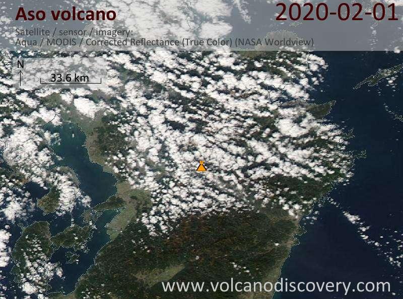Satellite image of Aso volcano on  1 Feb 2020