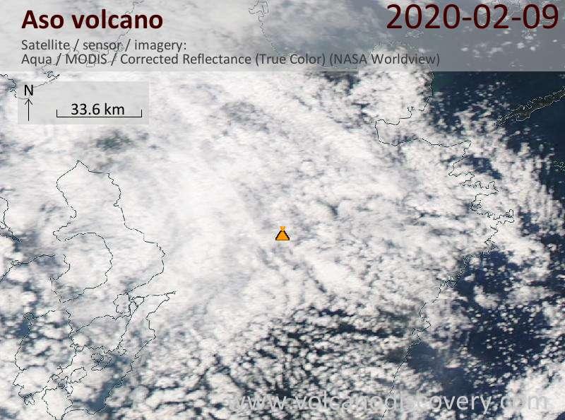 Satellitenbild des Aso Vulkans am 10 Feb 2020