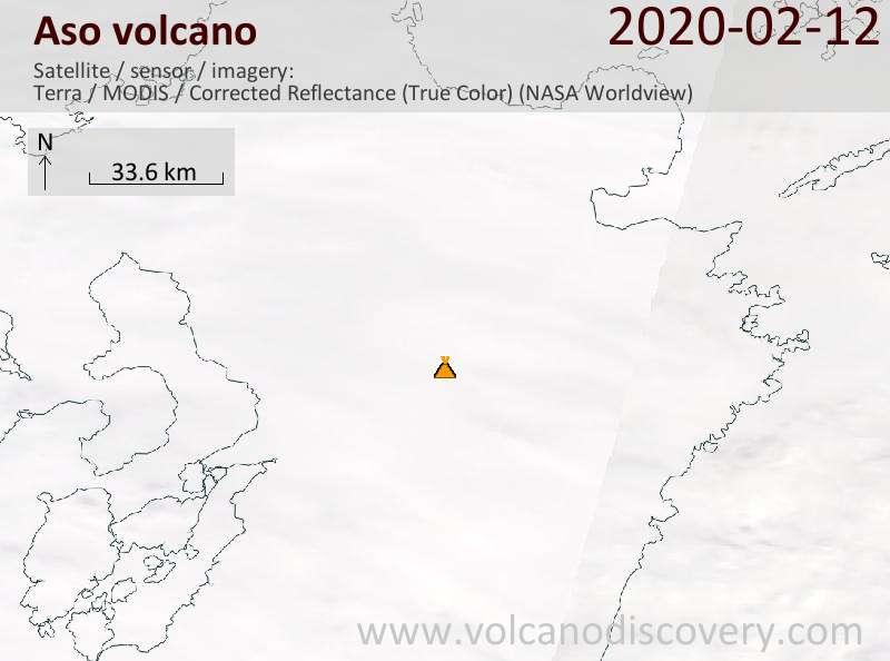 Satellitenbild des Aso Vulkans am 12 Feb 2020