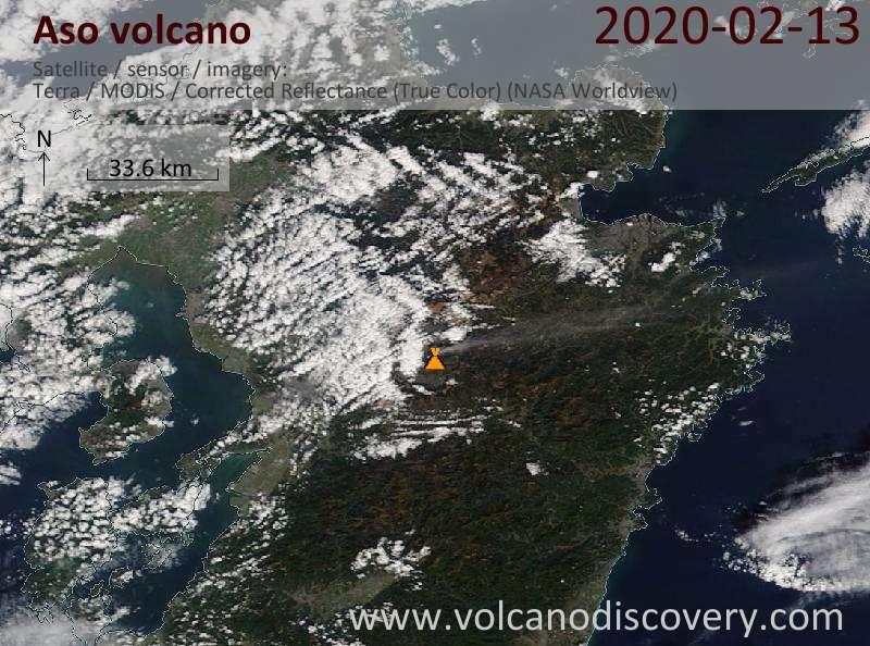 Satellite image of Aso volcano on 13 Feb 2020