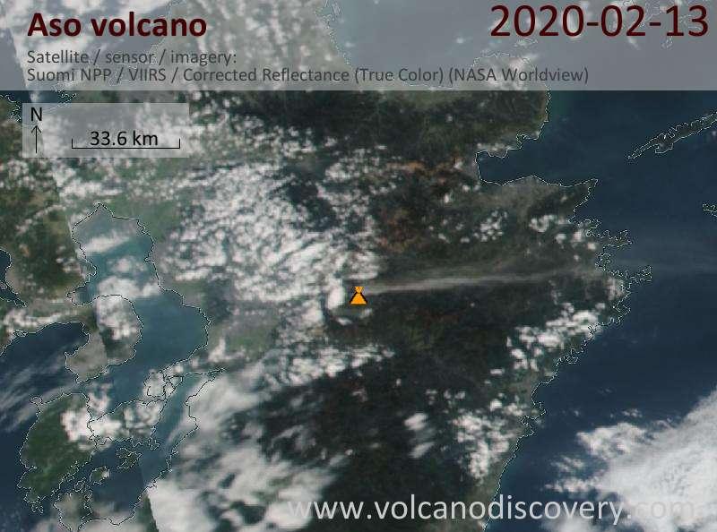 Satellite image of Aso volcano on 14 Feb 2020