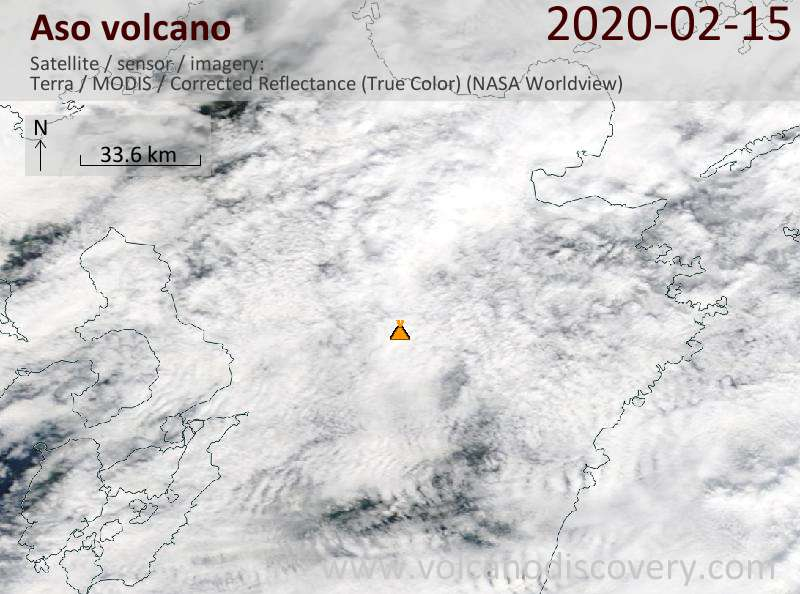 Satellite image of Aso volcano on 15 Feb 2020