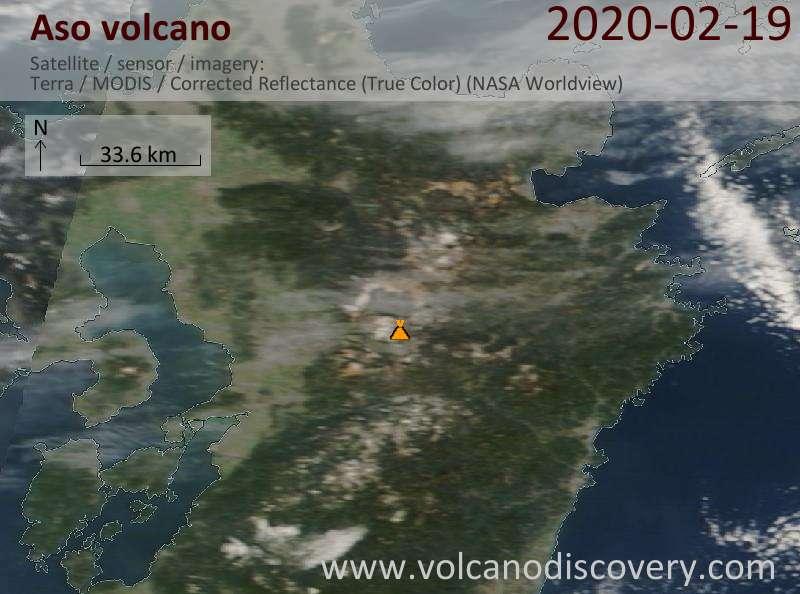Satellite image of Aso volcano on 19 Feb 2020
