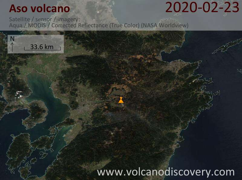 Satellite image of Aso volcano on 23 Feb 2020