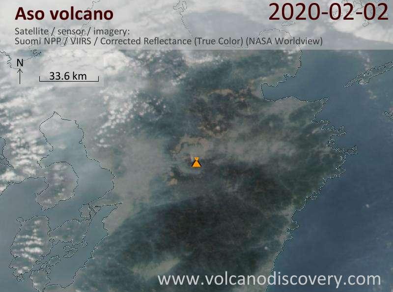 Спутниковое изображение вулкана Aso  3 Feb 2020
