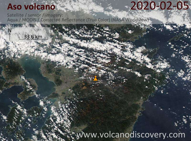 Satellite image of Aso volcano on  5 Feb 2020