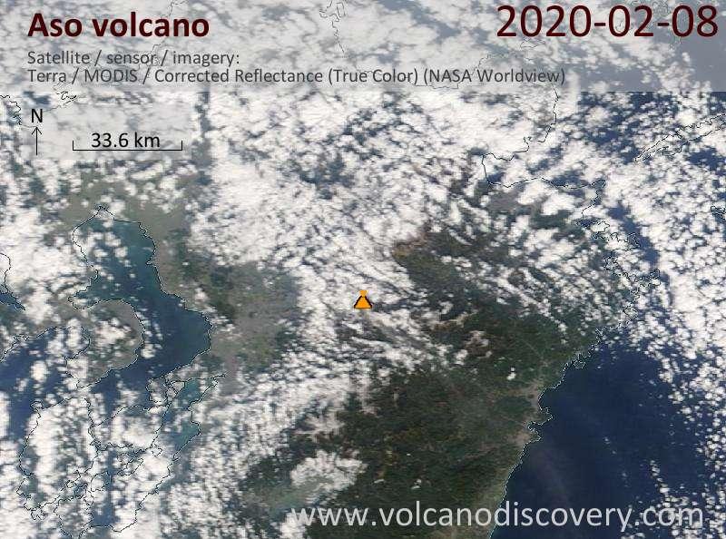 Satellitenbild des Aso Vulkans am  8 Feb 2020