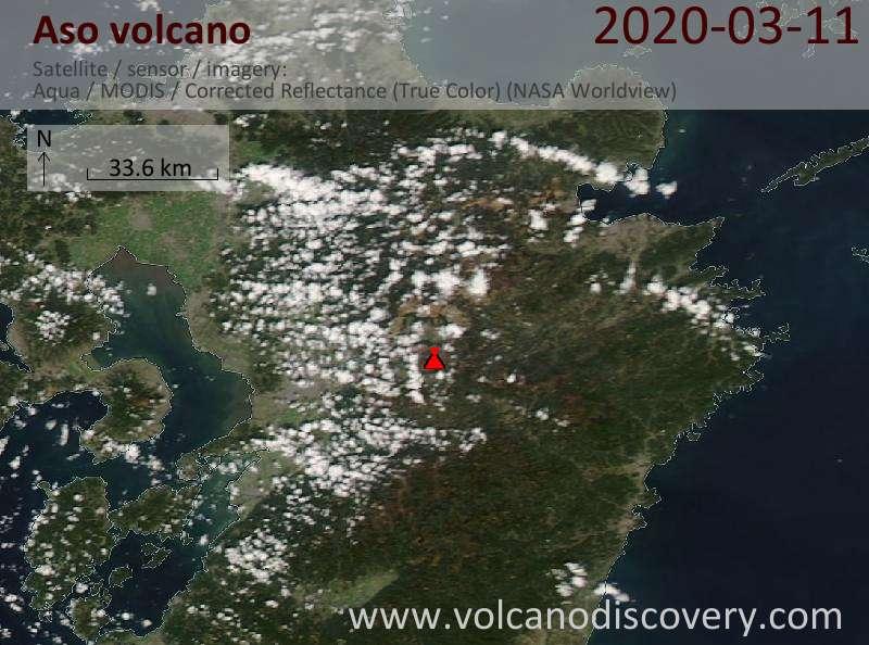 Satellite image of Aso volcano on 11 Mar 2020