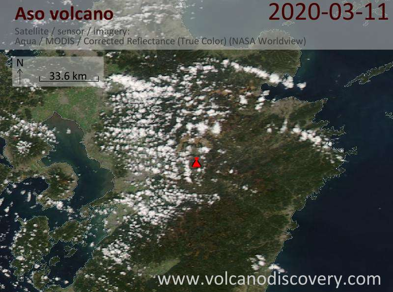 Satellite image of Aso volcano on 12 Mar 2020
