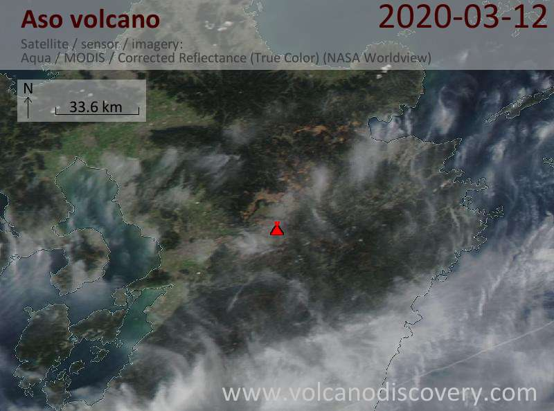 Satellite image of Aso volcano on 13 Mar 2020