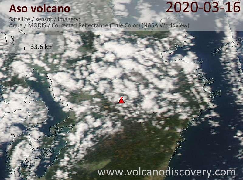 Satellite image of Aso volcano on 17 Mar 2020