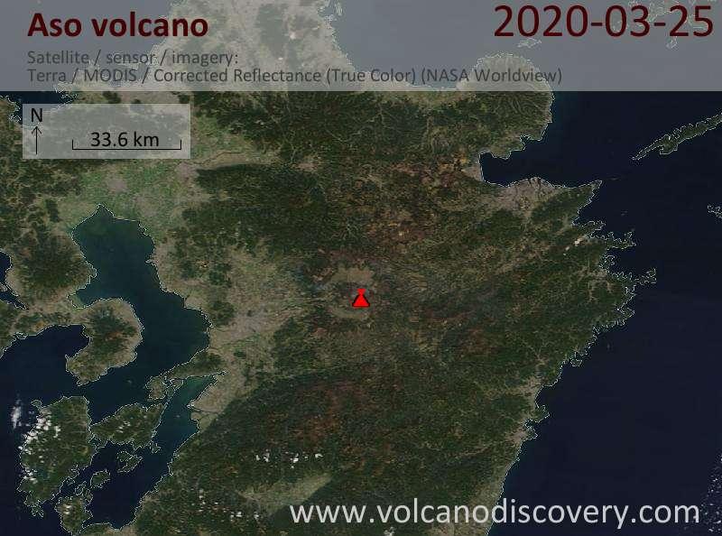 Satellite image of Aso volcano on 26 Mar 2020