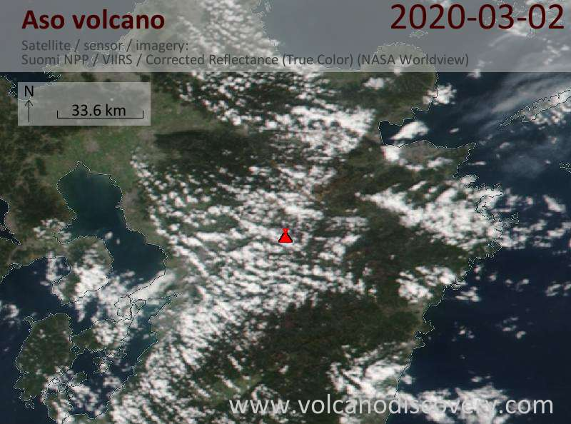Satellite image of Aso volcano on  3 Mar 2020