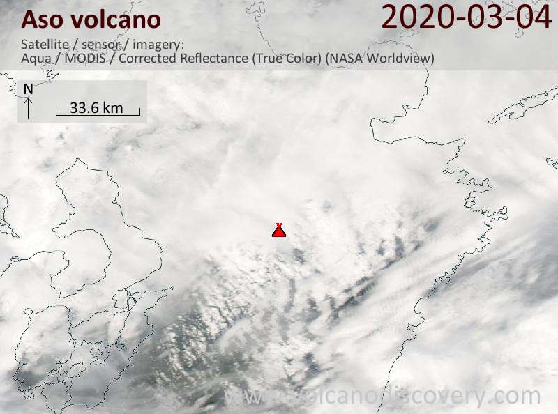 Satellite image of Aso volcano on  4 Mar 2020