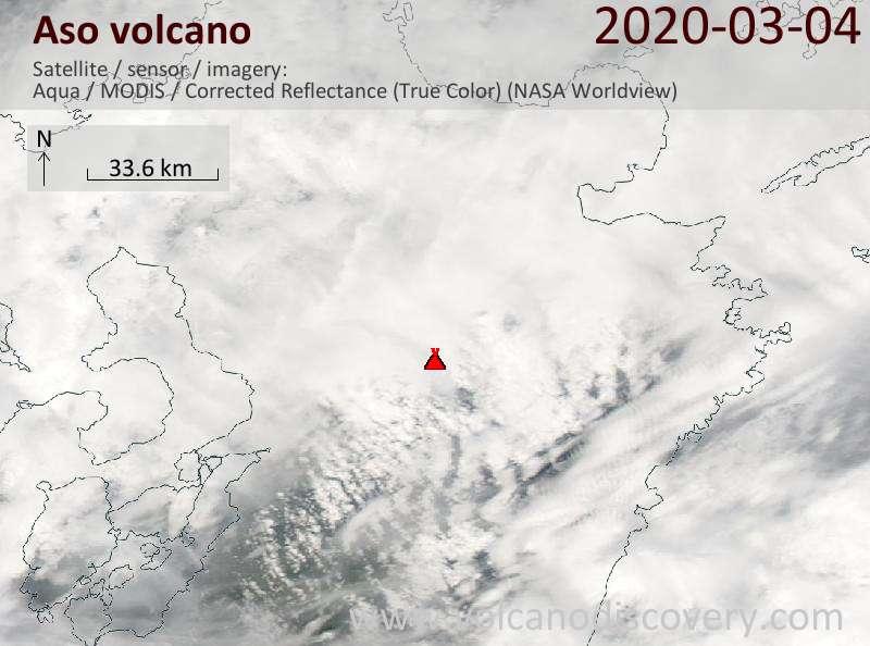 Satellite image of Aso volcano on  5 Mar 2020