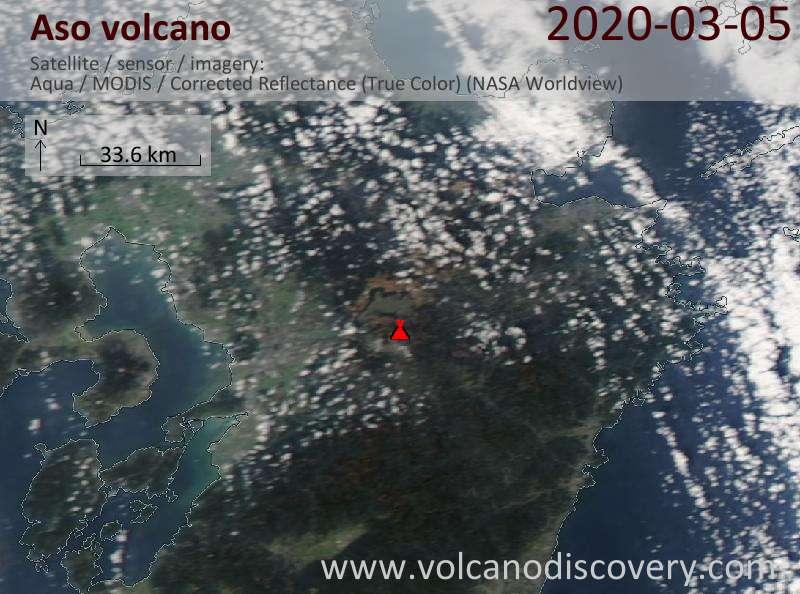 Satellite image of Aso volcano on  6 Mar 2020