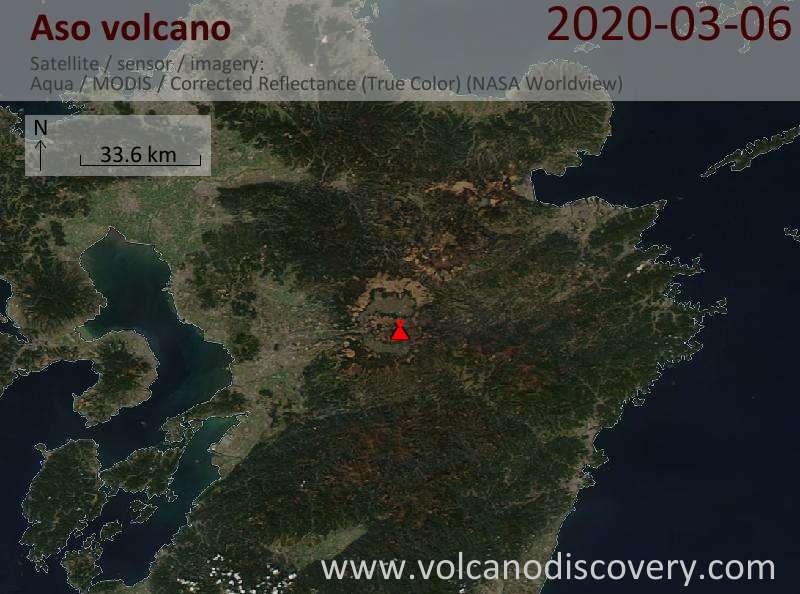Satellite image of Aso volcano on  7 Mar 2020