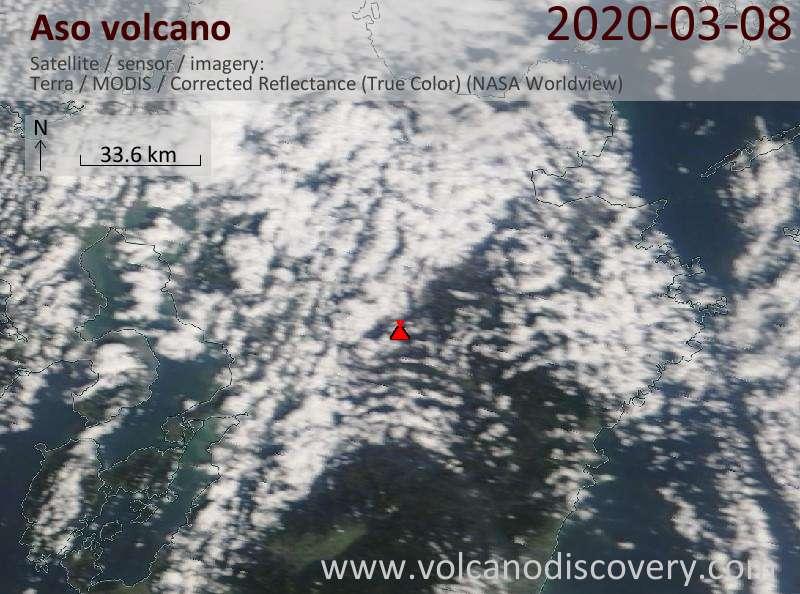 Satellite image of Aso volcano on  8 Mar 2020